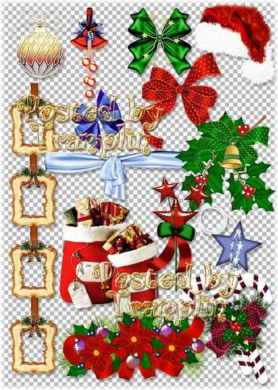 New Years ClipArt - bags with gifts, star, toys, ribbons, frames