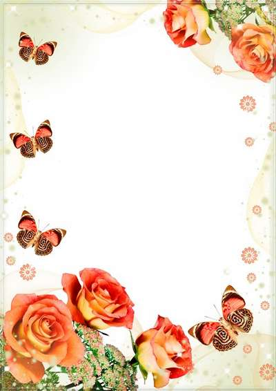 Floral photo frame - Bouquet of orange roses with butterflies