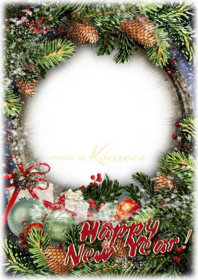 Snowy winter psd photo frame with inscription -  Happy New year!