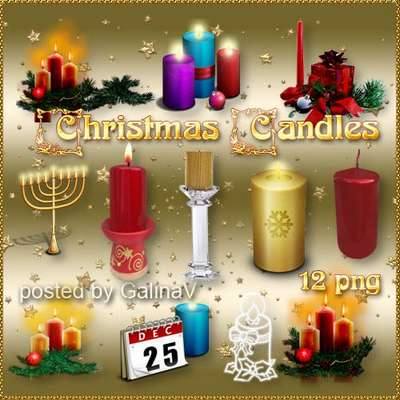 Christmas and New Year Candles PNG