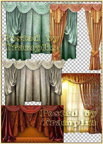 Clipart in Png – Curtains with miscellaneous by texture, colour and forms