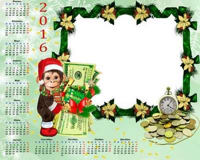Free 2016 Calendar psd template with a Christmas monkey and money - only in Russian language
