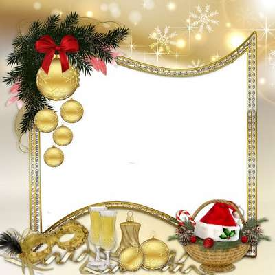 Free psd photo frame for female photos - Christmas Golden style