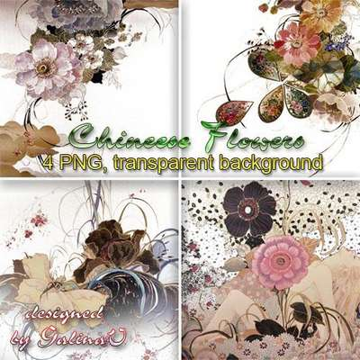Clipart PNG - Chinese Flowers Сompositions