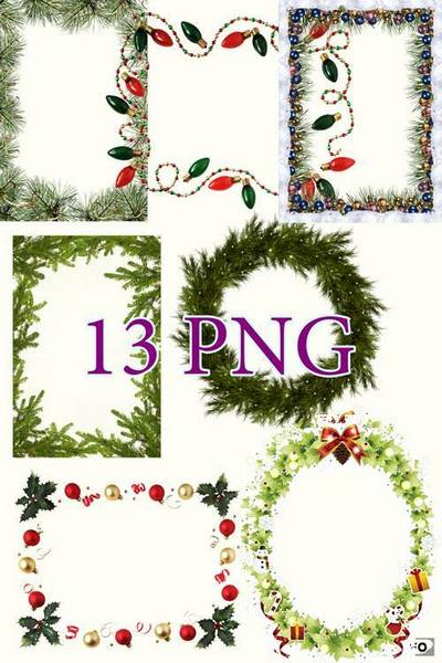 Collection of Christmas cutouts for decoration of photos in PNG