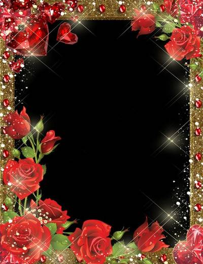 Free psd photo frame for lovers with red roses and ruby hearts