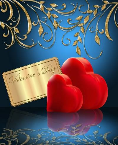 Free Valentine's Day clipart psd ( psd backgrounds) - two hearts on a red and blue background