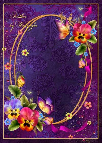 Frame for Photoshop - Charming pansies