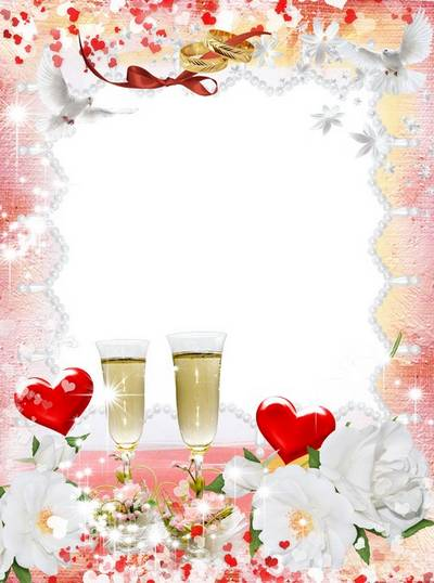 Frame for Photoshop - White roses, scarlet hearts