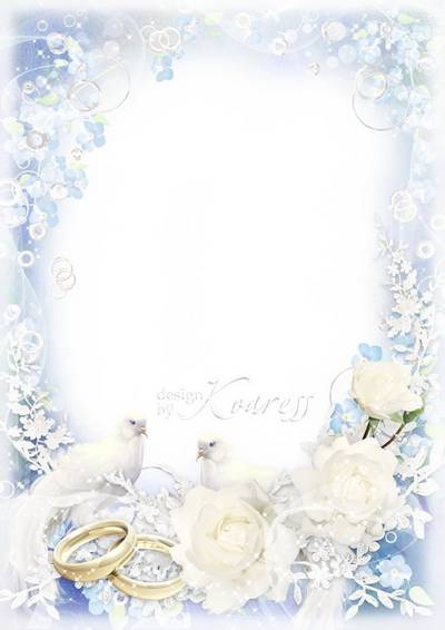 Wedding photo frame for Photoshop with doves and roses - White wedding tender veils