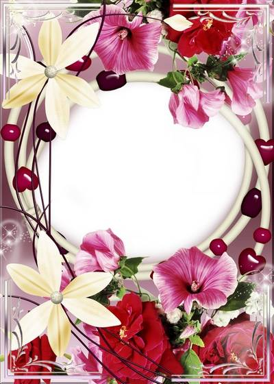 Photo Frame - With flowers and hearts (free frame psd + free frame png)