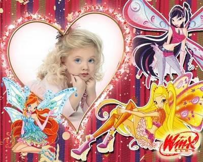 Free psd frame for baby pictures (girls ) with cartoon characters Lady Winx