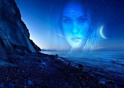 Free template psd photo frame for womens photos - night, moon, sea, stones