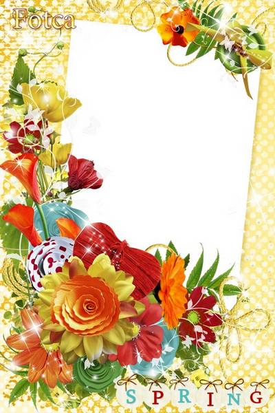 Flower photo frame PSD - Spring paint