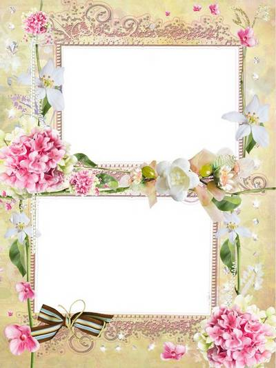 Women's PSD Frame for two photos with beautiful flowers - Gourmet world of colors