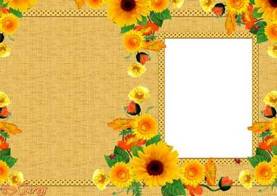 Multilayered greeting card PSD+PNG with a photo frame - Solar Flowers