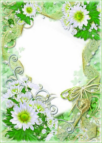 Beautiful psd frame for photo with white flowers - Congratulations