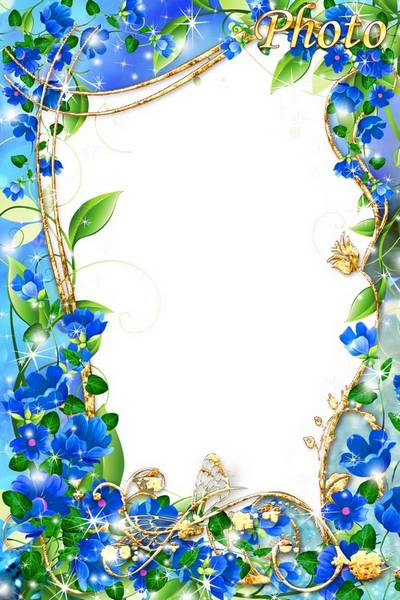 Beautiful floral PSD frame for the photo - Blue flowers