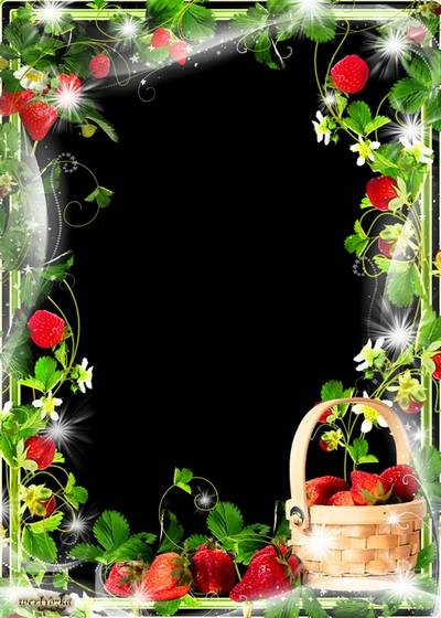 Multi-layered PSD frame - Juicy strawberry wonderful summer treating