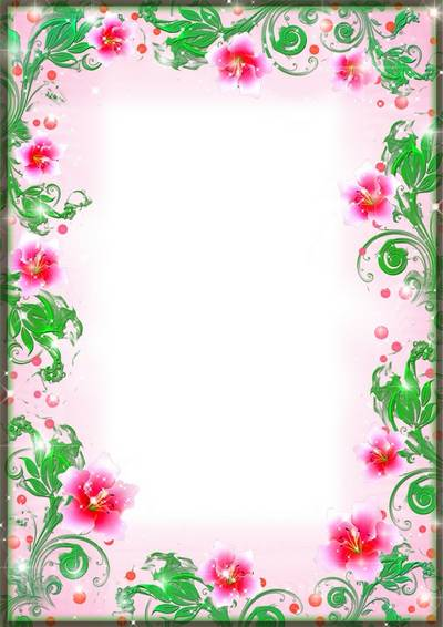 Photo frame PSD & PNG - Among the soft pink flowers