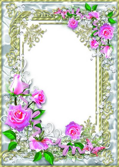 Delicate floral frame psd with pink roses - My Darling, delicate flower