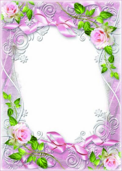 Flower Frame psd template - Tenderness Roses morning