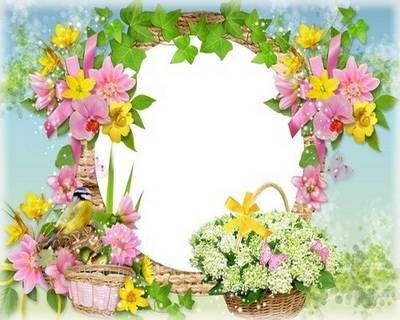 Women flower frame for the photo - Spring has come