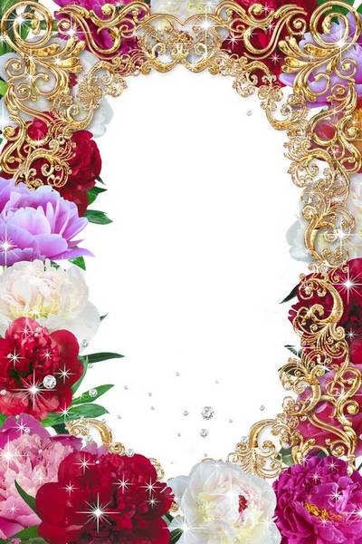Festive frame for March 8 - Peonies
