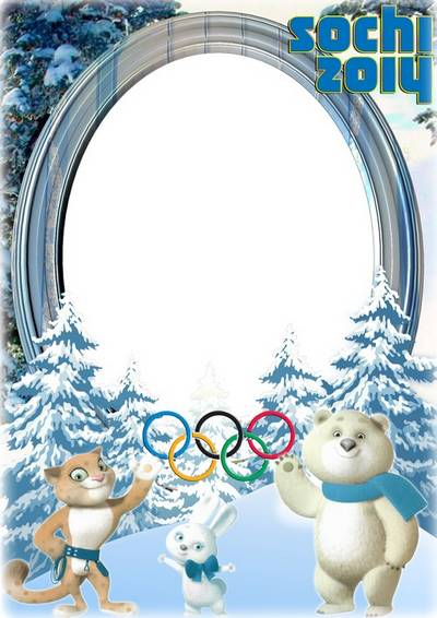 Winter photo frame - the Sochi 2014 Olympic Games Mascots