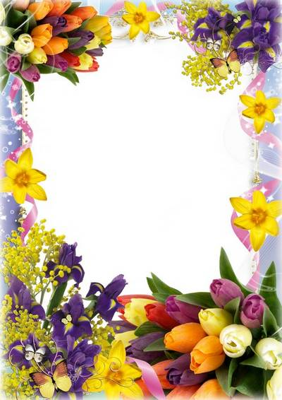 Spring flower frame for the photo - Flower Charm
