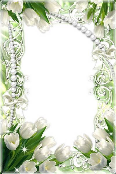 Two flower frames with pink and white tulips by 8 March