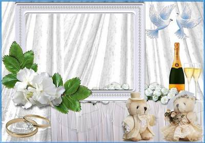 Wedding Frame png & psd- Happy newlyweds