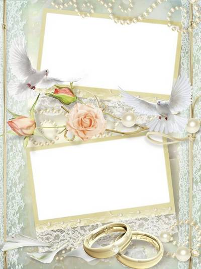 Delicate psd wedding frame for 2 pictures - Get them to run into the sky white doves