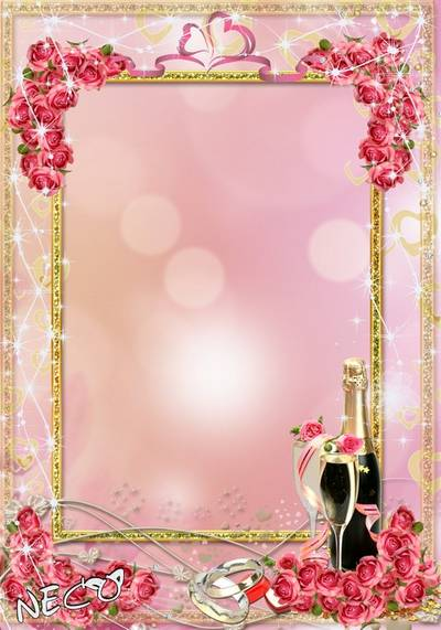Romantic - wedding frame with pink roses - Nectar of love