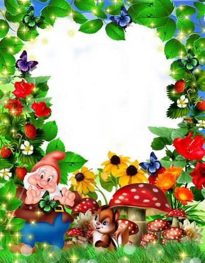 Children frame with a nice gnome-Hello, sunny summer! free download