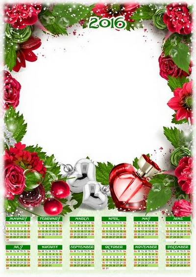 Romantic photo calendar template 2016 psd with flowers and hearts (English, Russian)