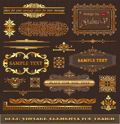Gold Vintage Elements for Design - PSD Source