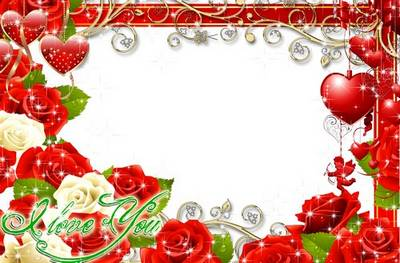 Festive frame for processing the photo to the day of St. Valentine - I Love You