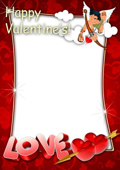 Set of two romantic photo frames for Valentine's Day - And in the heat, and in any cold around here goes Cupid