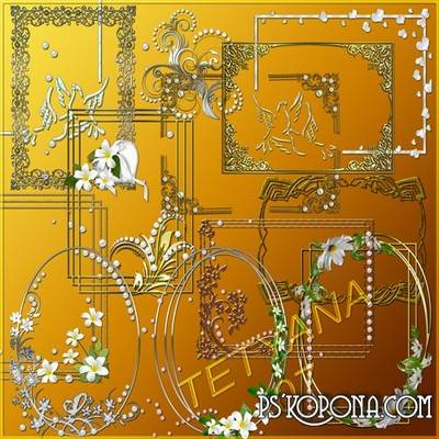 25 PSD Frames and decorative elements for frames in silver and gold style with flowers and pearls