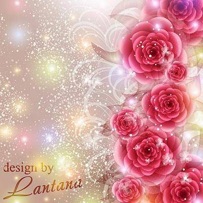 Free Flowers PSD background - tenderness