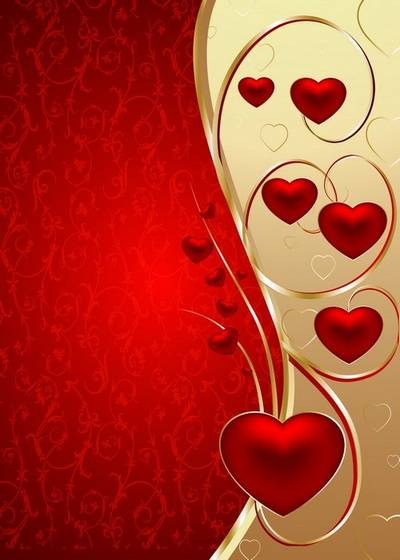 2 red-gold backgrounds psd files for lovers with red hearts