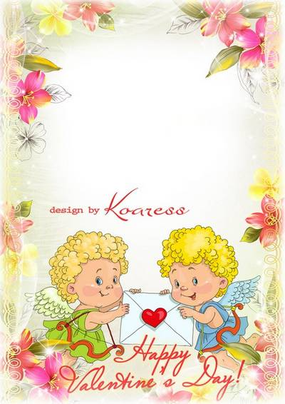 Download Happy Valentine photo frame with angels for lovers in psd format for Photoshop