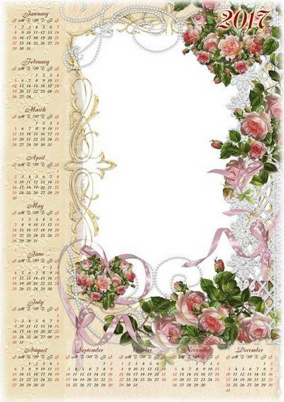 2016 & 2017 Photo Calendar PSD temlate for Photoshop with Vintage roses (English, Russian, Ukrainian languages)