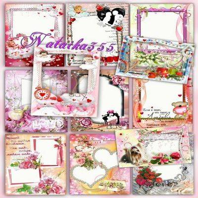Free pack love frame png for Photoshop with hearts and beautiful flowers 12 PNG frame