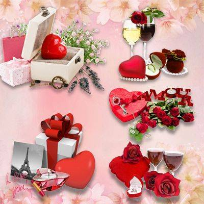 Clipart png hearts with gifts, champagne, flowers - 8 png clusters for Valentine's day