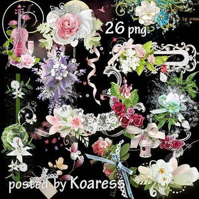 Free pack floral png clasters - spring flowers 26 clipart png