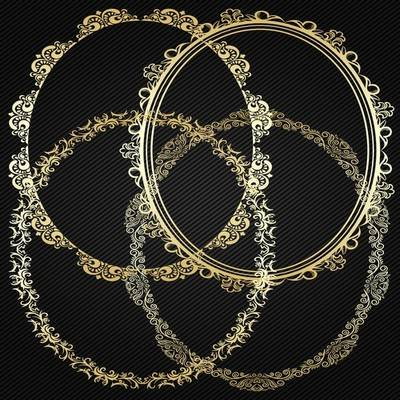 Decorative round gold frame PSD cutouts for Photoshop