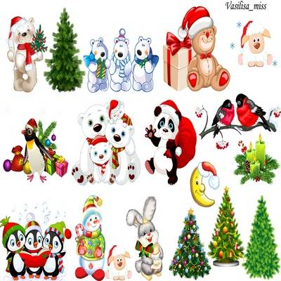 Christmas Clipart png Mix - trees, animals in Christmas costumes, snowman - 18 png