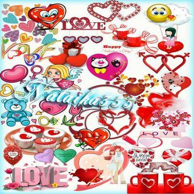 Love Clipart psd + png images valentine's day - hearts, mugs with hearts, inscription - love, angels, valentines, gifts and other attributes on a transparent background